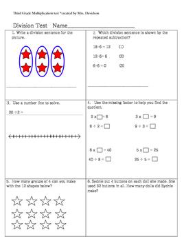 Third Grade Common Core Division Test