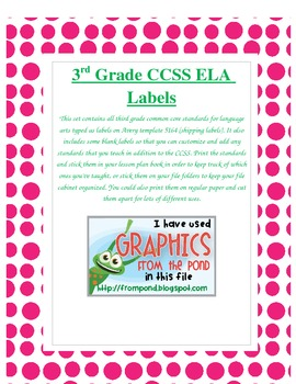 Third Grade Common Core ELA Standard Labels