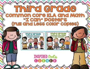 "Third Grade Common Core ELA and Math ""I Can"" Posters Bundl"
