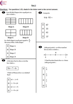 3rd Grade Common Core Math ASSESSMENT Form A - Mirrors Com
