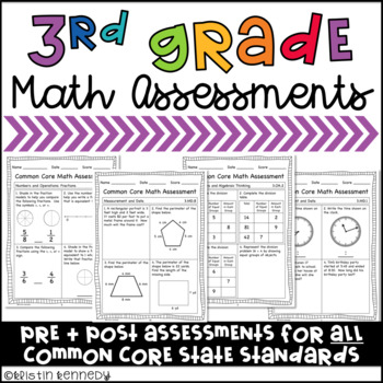 Third Grade Common Core Math Assessments (Pre and Post for