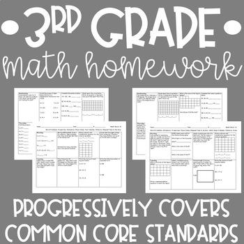 Third Grade Math Homework Year Long {Common Core Aligned}