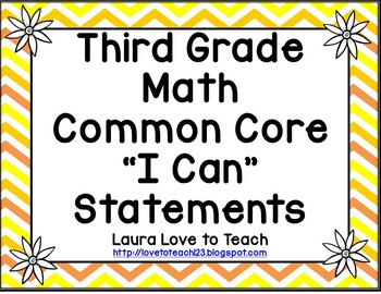 """Third Grade Math CCSS  """"I Can"""" Posters (Flower themed)"""