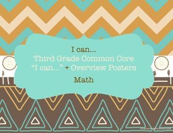 "Third Grade Common Core Math ""I can..."" Posters Chevron Na"