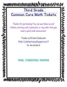 Third Grade Common Core Math Tickets