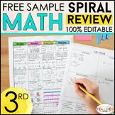 3rd Grade Math Homework 3rd Grade Morning Work FREE