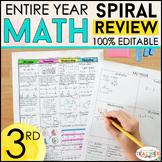 3rd Grade Math Homework or Morning Work ENTIRE YEAR } EDITABLE