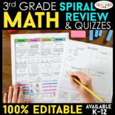 Third Grade Math Homework ENTIRE YEAR } EDITABLE
