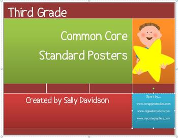 Third Grade Common Core Standard Posters - Kid Friendly! -
