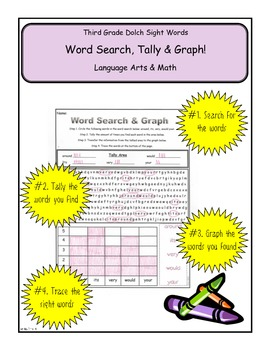 Third Grade Dolch Search, Tally & Graph Common Core Math &