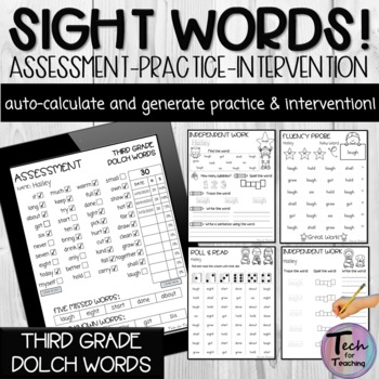 Third Grade Dolch Sight Word PDF Form (Automatically Count