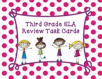 Third Grade ELA Task Cards Test Prep