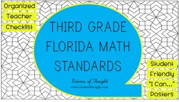 "Third Grade FL Math Standards Checklist & ""I Can..."" Posters"
