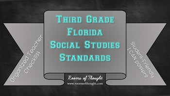 """Third Grade FL Social Studies Standards Checklist & """"I Can"""