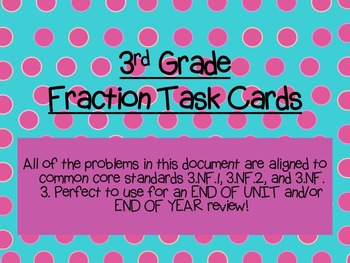 Third Grade Fraction Task Cards: 3.NF.1, 3.NF.2, 3.NF.3