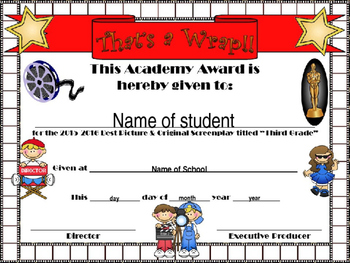 Third Grade Hollywood Themed End of Year certificate