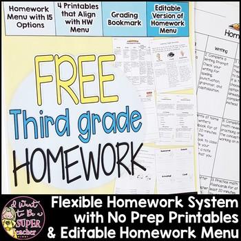 Third Grade Homework Freebie {4 NO PREP Printables & Edita