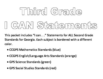 Third Grade I CAN Statements--ALL SUBJECTS