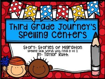 Third Grade Journey's Spelling Centers & Activities (Stori