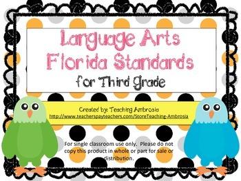Third Grade Language Arts FL Standards Checklist Eagle by