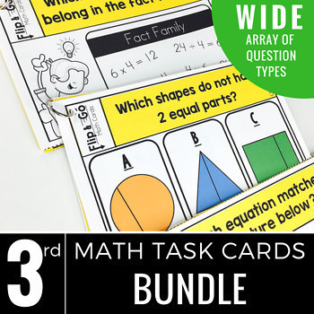 Third Grade Math Flip and Go Cards BUNDLE