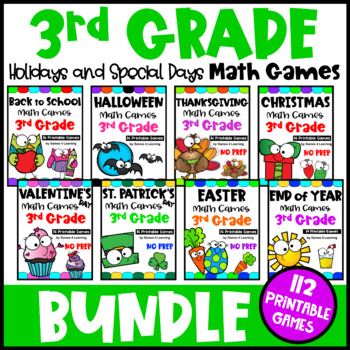 3rd Grade Math Games Holidays Bundle: Valentine's Math, St