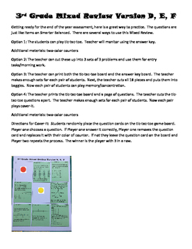 Third Grade Mixed Review Game and Worksheet Versions D, E and F