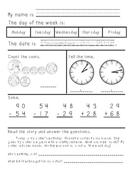 Third Grade Morning Work January through June
