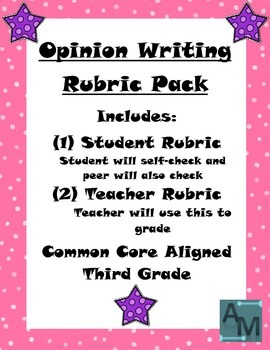 Third Grade Opinion Writing Rubric Pack