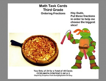 Third Grade-Ordering Fractions-Math Task Cards-CCSS.MATH.C