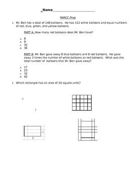 Third Grade PARCC Prep homework/classwork