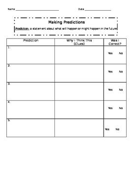 Third Grade Predictions Graphic Organizer