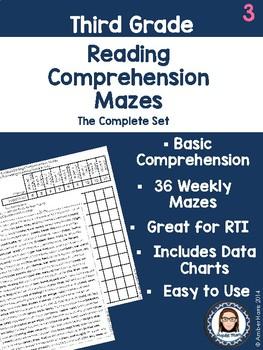 Third Grade Reading Comprehension Mazes Complete Set