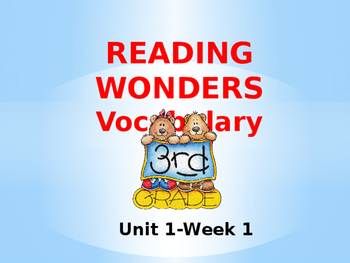 Third Grade Reading Wonders Unit 1-Week 1 Vocabulary PowerPoint