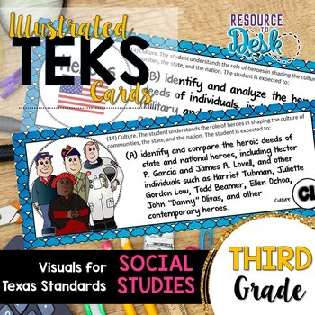 Third Grade SOCIAL STUDIES TEKS - Illustrated and Organize