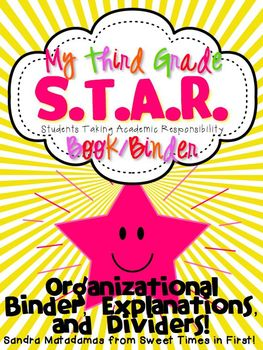 Third Grade S.T.A.R. Book (Binder) Organizational Binder