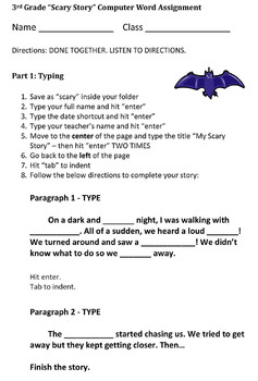Third Grade Scary Story Halloween Essay Assignment - Micro