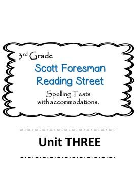 Scott Foresman Reading Street 3rd Grade U-3  Spelling Test