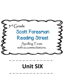 Scott Foresman Reading Street 3rd Grade U-6  Spelling Test