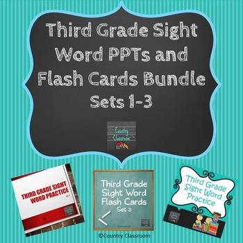 Third Grade Sight Word Flash Cards and PPTs Bundle