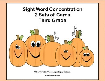 Third Grade Sight Word Printable Concentration Game-Hallow