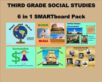 Third Grade Social Studies 6 in 1 SMARTboard Pack