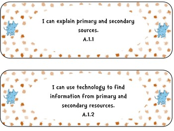 "Third Grade Social Studies Standards ""I Can Statements"" Se"