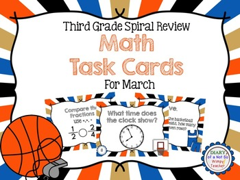 Third Grade Spiral Math Task Cards for March