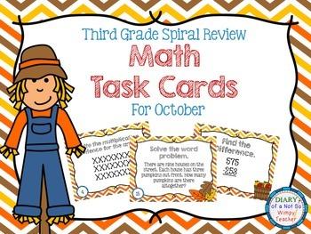 Third Grade Spiral Math Task Cards for October