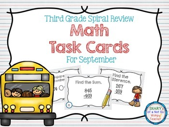 Third Grade Spiral Math Task Cards for September