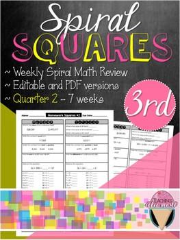 Third Grade Spiral Review Homework Squares - Quarter 2