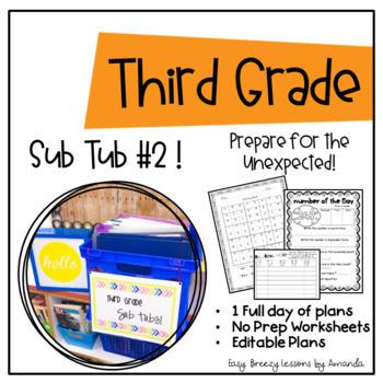 Third Grade Sub Tub 2 (Full Day of Plans. No Prep)
