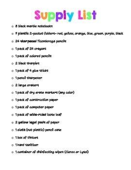 Third Grade Supply List
