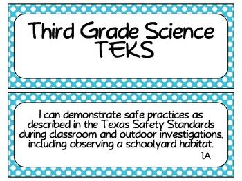 Third Grade TEKS Cards Bundle with Polka Dot Borders